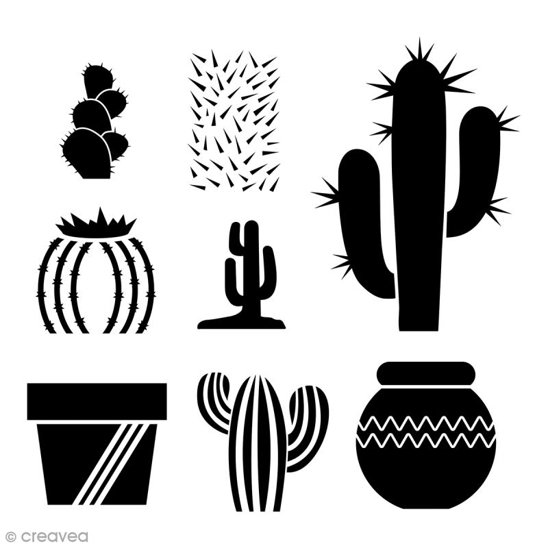 pochoir multiusage a4 cactus 8 motifs pochoir mural. Black Bedroom Furniture Sets. Home Design Ideas