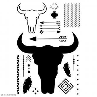 Pochoir home déco A4 - Crâne de taureau - 20 motifs