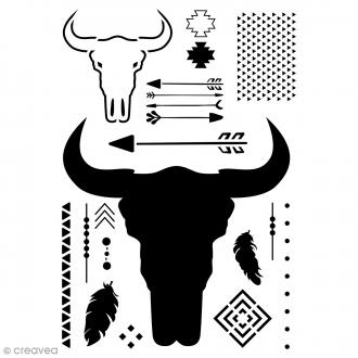 Pochoir multiusage A4 - Crâne de taureau - 20 motifs