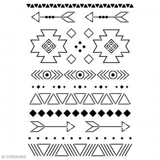 Pochoir multiusage A4 - Motifs Ethniques - 12 motifs