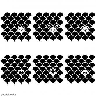 Pochoirs multiusage 15 x 15 cm - Animaux inspiration Japon - 6 pcs