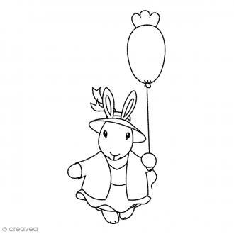 Tampon bois Lapine ballon - 3,7 x 7,4 cm