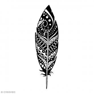 Tampon bois Plume déco - 2,6 x 7,5 cm