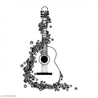 Tampon bois Guitare fleurie - 5 x 7 cm