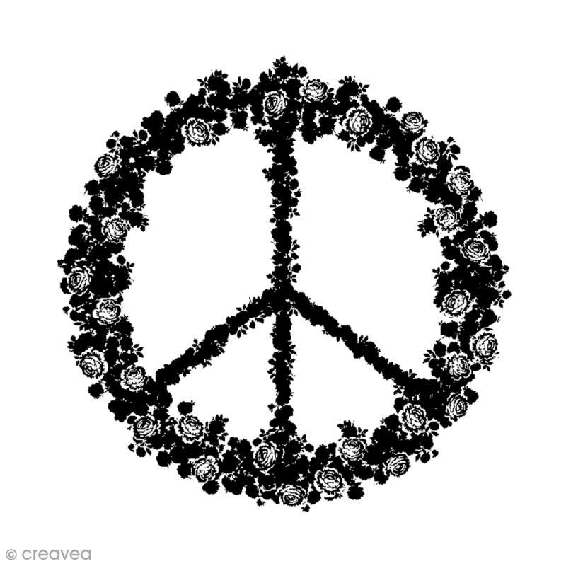 Tampon bois signe peace love 5 8 x 6 cm tampon bois creavea - Dessin peace and love ...