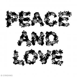 Tampon bois Peace & Love - 5,8 x 7 cm