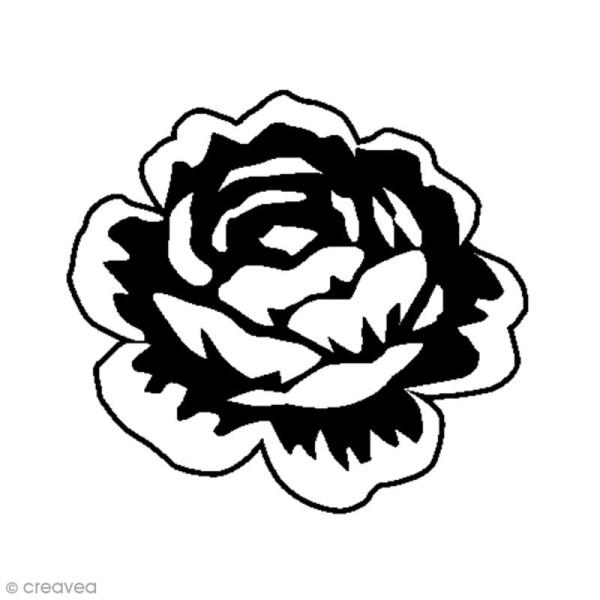 Tampon bois Rose - 3,7 x 4 cm - Photo n°1