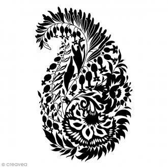 Tampon bois Paisley - 5,8 x 8,7 cm