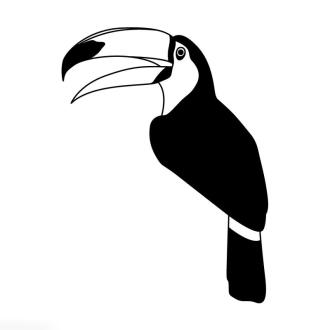 Tampon bois Oiseau toucan - 5 x 7 cm
