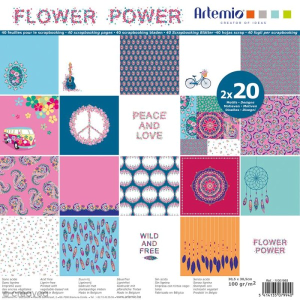 Papier Scrapbooking Artemio - Flower Power - 30,5 x 30,5 cm - 40 pcs - Photo n°1