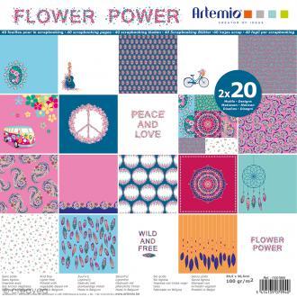 Papier Scrapbooking Artemio - Flower Power - 30,5 x 30,5 cm - 40 pcs