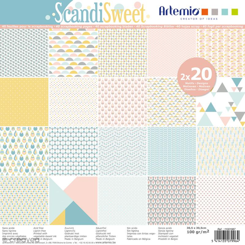 Papier Scrapbooking Artemio - Scandisweet - 30,5 x 30,5 cm - 40 pcs - Photo n°1