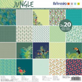 Papier Scrapbooking Artemio - Jungle - 30,5 x 30,5 cm - 40 pcs