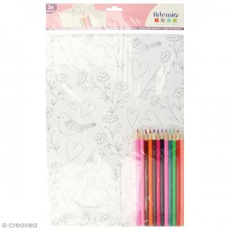 Kit coloriage Love me tenders - Papiers 50 x 70 cm et crayons