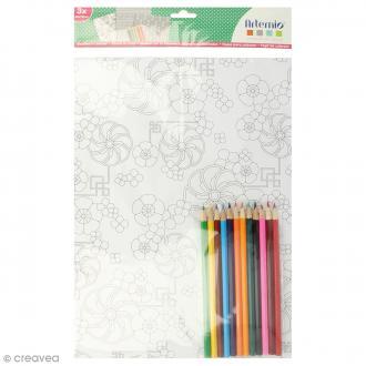 Kit coloriage Ethnique - Papiers 50 x 70 cm et crayons