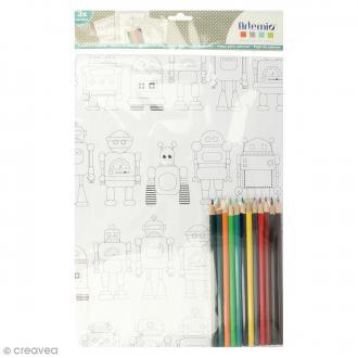 Kit coloriage Robots - Papiers 50 x 70 cm et crayons