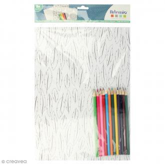 Kit coloriage Flower Power - Papiers 50 x 70 cm et crayons