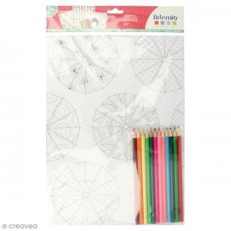 Kit coloriage Kokeshi - Papiers 50 x 70 cm et crayons