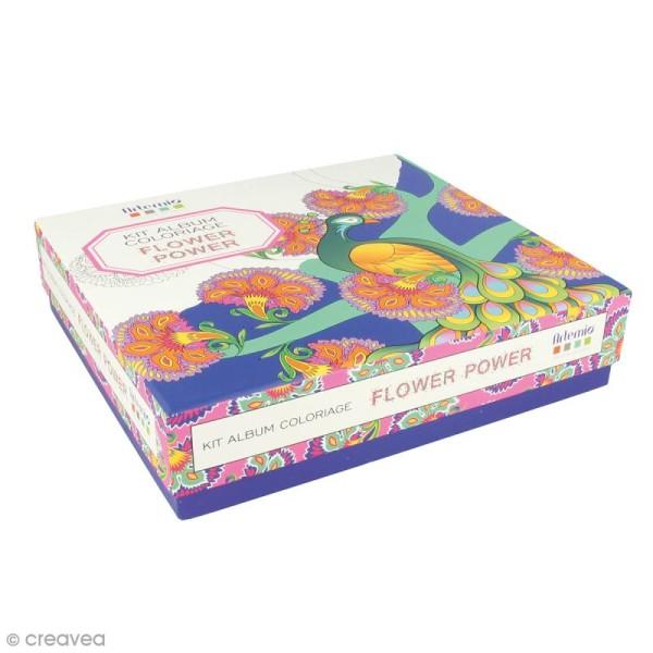 Kit coloriage Flower Power - Album smashbook et crayons - Photo n°1
