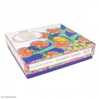 Kit coloriage Flower Power - Album smashbook et crayons