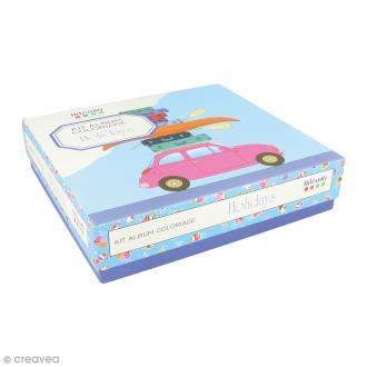 Kit coloriage Vacances - Album smashbook et crayons