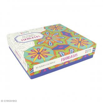 Kit coloriage Mandala - Album smashbook et crayons