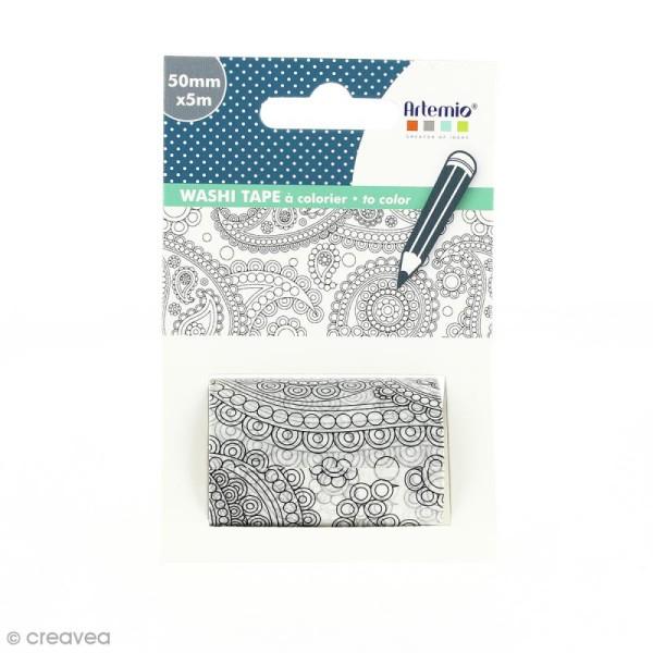 Washi tape XL à colorier - Flower Power - 50 mm x 5 m - Photo n°1