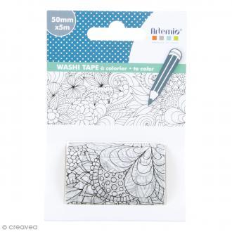 Washi tape XL à colorier - Fleurs - 50 mm x 5 m