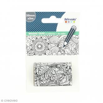 Washi tape XL à colorier - Papillons - 50 mm x 5 m