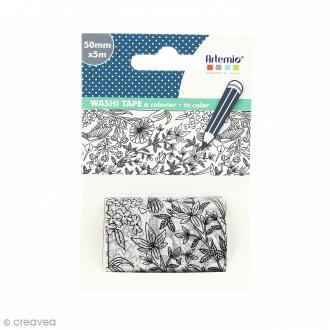 Washi tape XL à colorier - Oiseaux - 50 mm x 5 m