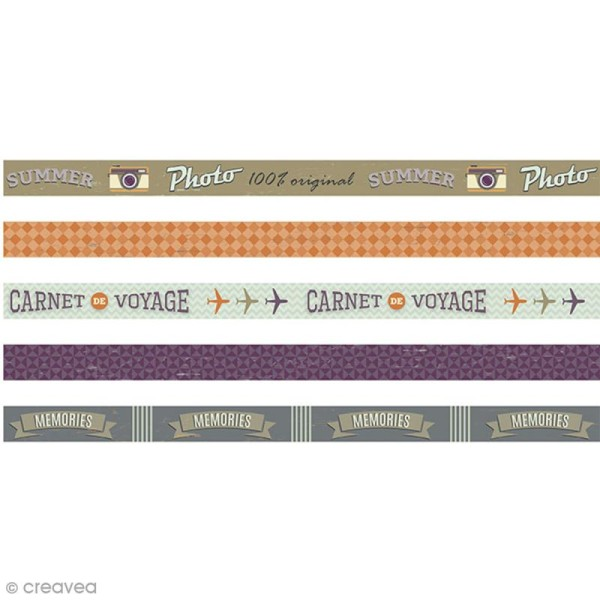 Masking Tape Artemio - Sweet Memories - 1,5 cm x 5 m - 5 pcs - Photo n°1