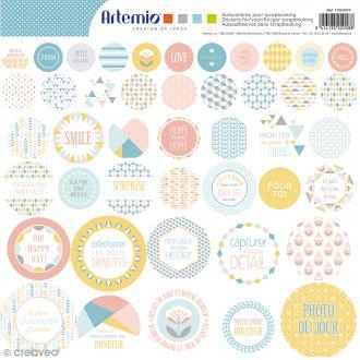 Stickers Artemio ronds - Scandisweet - 1 planche 30,5 x 30,5 cm
