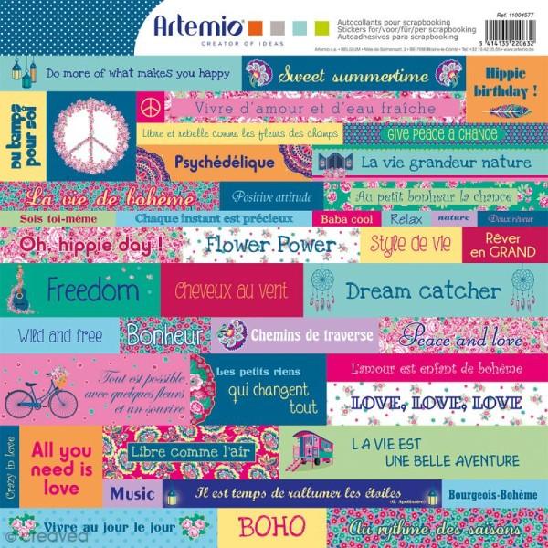 Stickers Artemio - Flower Power - 1 planche 30,5 x 30,5 cm - Photo n°1