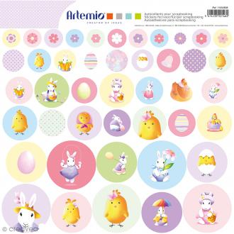 Stickers Artemio ronds - Lapins aquarelle - 1 planche 30,5 x 30,5 cm