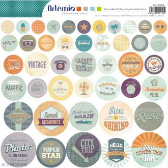 Stickers Artemio ronds - Sweet Memories - 1 planche 30,5 x 30,5 cm