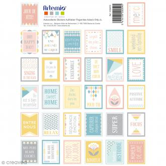Stickers timbre décoratifs Scandisweet - 3,3 x 2,7 cm - 64 pcs