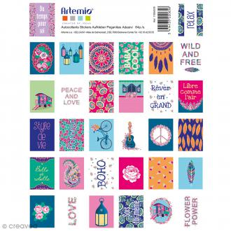 Stickers timbre décoratifs Flower Power - 3,3 x 2,7 cm - 64 pcs