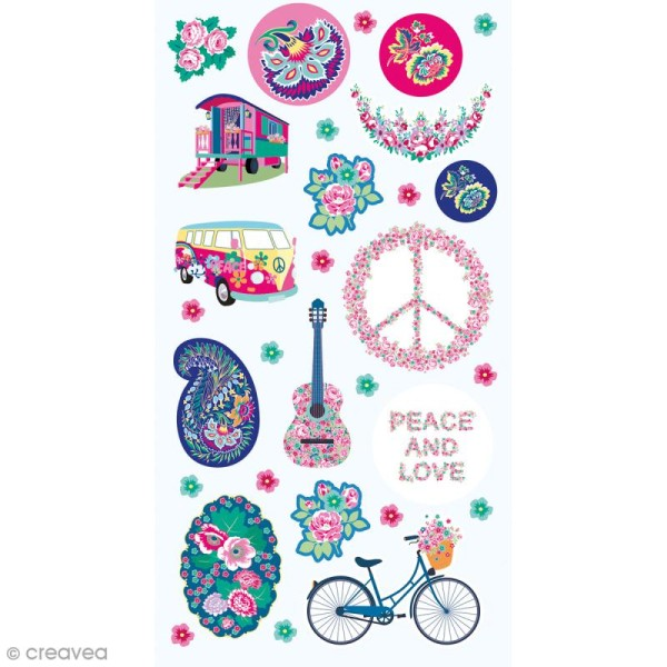 Stickers Puffies - Peace & Love - 30 autocollants - Photo n°1