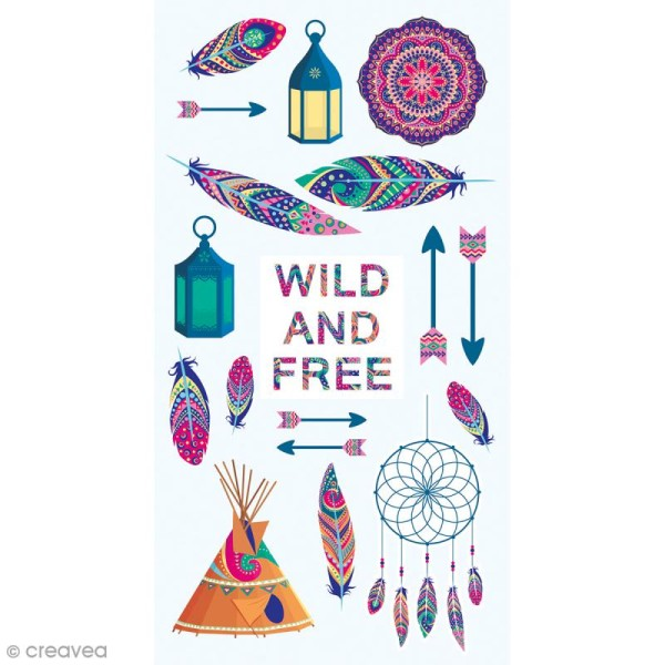 Stickers Puffies - Wild & Free - 18 autocollants - Photo n°1