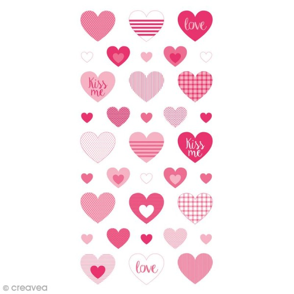 Stickers Puffies - Coeurs Kiss Me - 35 autocollants - Photo n°1