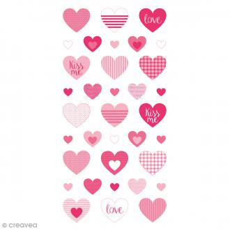 Stickers Puffies - Coeurs Kiss Me - 35 autocollants
