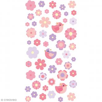 Stickers Puffies - Fleurs aquarelle - 51 autocollants