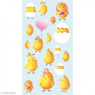 Stickers Epoxy - Poussins zinzins - 17 pcs