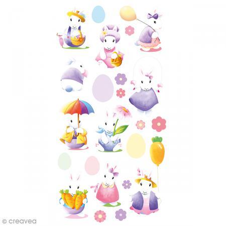 Stickers Epoxy - Lapins aquarelle - 23 pcs - Photo n°1