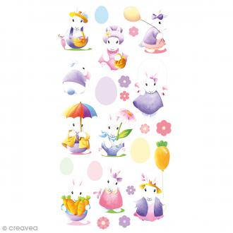 Stickers Epoxy - Lapins aquarelle - 23 pcs