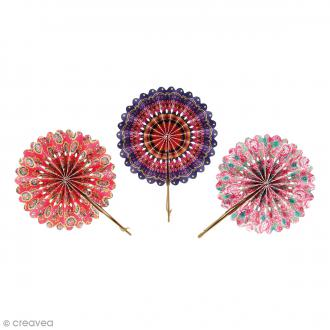 Eventails en papier Flower Power - 6 pcs