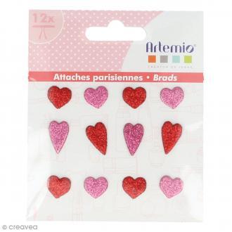 Attaches parisiennes Artemio - 12 brads Coeurs paillettes