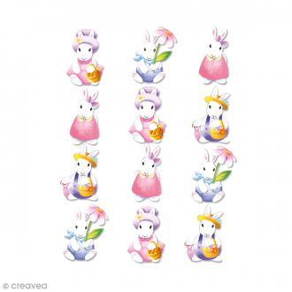 Stickers en bois Lapins aquarelle - 12 autocollants