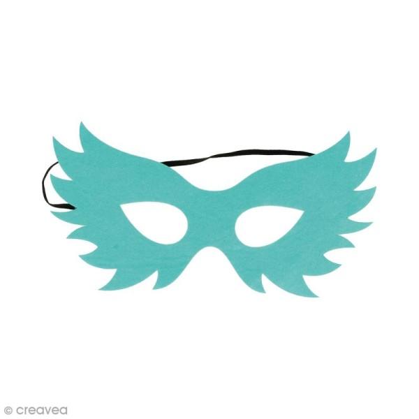 Masque en feutre - Oiseau bleu turquoise - Photo n°1