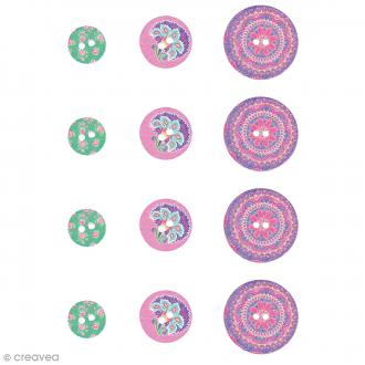 Boutons bois - Flower Power - 12 pcs